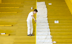 POY: Runner UpJill Knigt, The News & ObserverJackson Allen applies a fresh coat of paint to a stair railing inside of the James B. Hunt Jr. Library Tuesday, August 11, 2015 in Raleigh, N.C. Fall classes at N.C. State University begin on August 19.