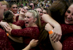 Student Photographer of the Year: Runner UpAl Drago, Elon UniversityElon freshman Marissa Baum hugs her fellow Alpha Xi Delta sisters after their sorority won first place in the Greek Week Dance competition at Elon University, in Elon, N.C. on Wednesday, April 16, 2015. Alpha Xi Delta's theme, {quote}Seven Deadly Sins,{quote} featured different choreographed dances to each sin.