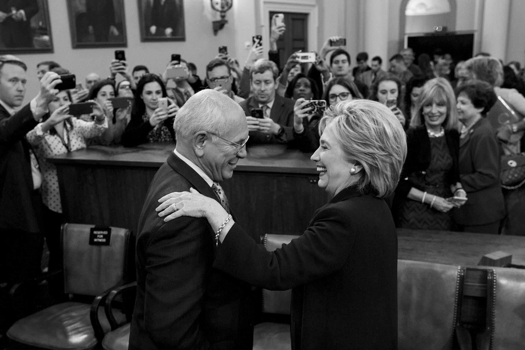 Student Photographer of the Year: Runner UpAl Drago, Elon UniversityDemocratic presidential candidate and former Secretary of State Hillary Rodham Clinton, greets Rep. Paul Tonko, D-N.Y., after testifying before the House Select Committee on Benghazi, on Capitol Hill in Washington, Thursday, Oct. 22, 2015. Clinton is being investigated by a Republican-led committee on the deadly 2012 Benghazi, Libya attacks.