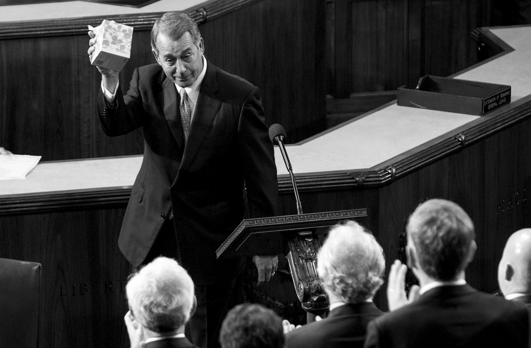 Student Photographer of the Year: Runner UpAl Drago, Elon UniversityOutgoing House Speaker John Boehner, R-Ohio, holds up a box of tissues while speaking in the House Chamber on Capitol Hill in Washington, Thursday, Oct. 29, 2015, as Rep. Paul Ryan, R-Wis., is expected to be voted in as the new House Speaker.
