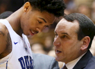 Sports Photographer of the YearMark Dolejs, The Daily DispatchAs Duke's Brandon Ingram comes out of the game, head coach Mike Krzyzewski gives him encouragement in their game against the Georgia Southern Eagles at Cameron Indoor Stadium.