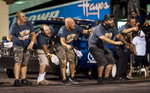 Second Place | Sports Photo StoryAndrew Dye, Winston-Salem Journal Sportsman Series driver Zach Clifton's crew celebrates after Clifton won the second Sportsman Series race of the night on Saturday, June 11, 2016 in Winston-Salem, N.C.