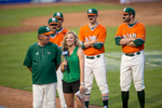 Sports Photographer of the Year Ben McKeown, Freelance Miami players prank head coach Jim Morris by standing on camera with fake mustaches during an interview with an ACC Network reporter at the ACC Baseball Tournament in Durham, N.C. on May 26, 2016.