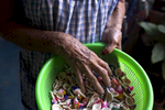 Guadalupe Sánchez holds a bowl of caritas in her family home in Miahuatlán.