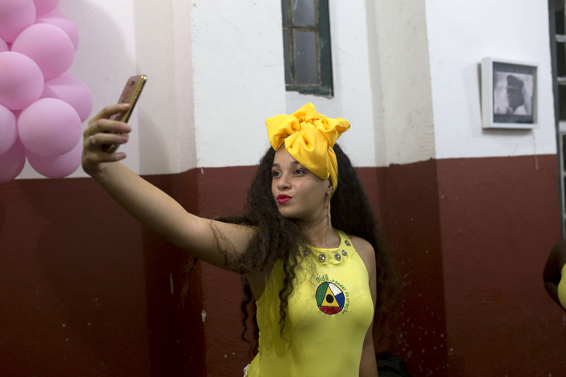 Jennifer Bispo takes selfie before a performance at Project Didá in Salvador's historic neighborhood, Pelourinho.
