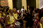A group of onlookers watch a Didá performance on the street outside Project Didá in Salvador's historic neighborhood, Pelourinho.