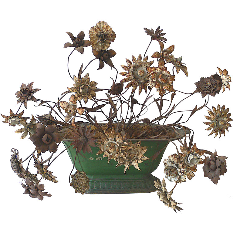 ANTIQUE JARDINIERE WITH IRON TOILE FLOWERS
