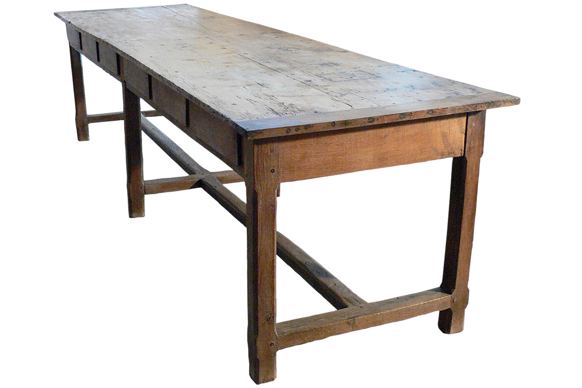 Long antique French farm table TABLE
