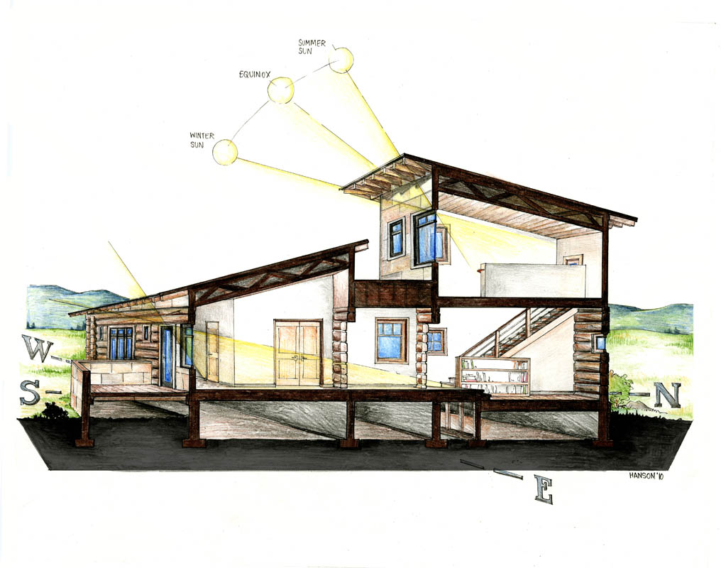 Pencil Architectural Illustration : C section colored pencil architectural illustrations