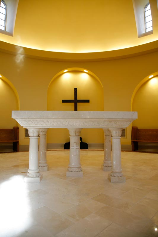Byzantine Artworks designed, fabricated, and installed this new marble Altar Table.