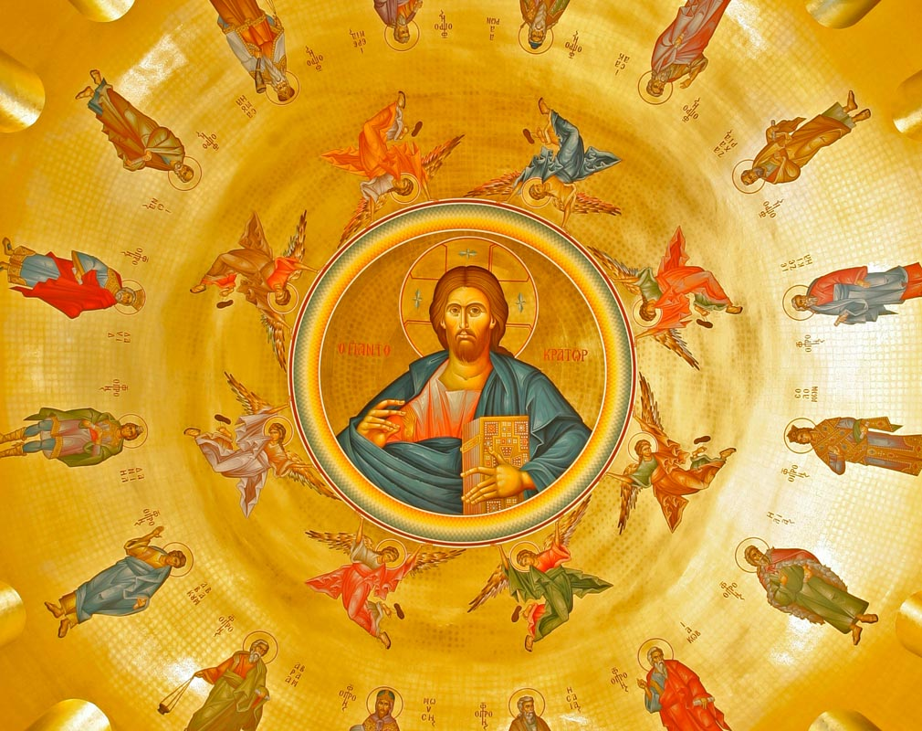 Jesus Christ, Pantokrator, surrounded by angels and prophets