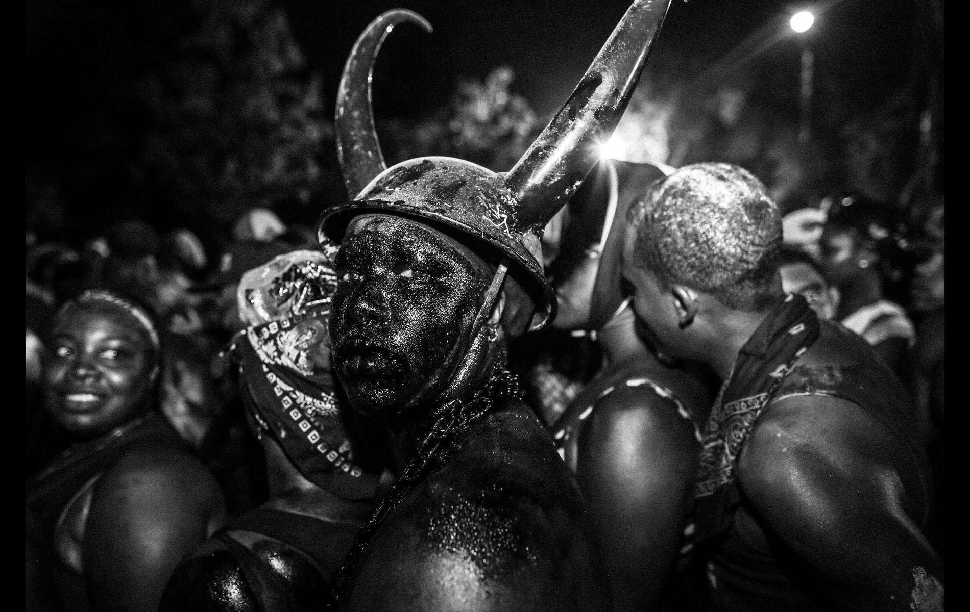 during J'ouvert festivities leading up to the West Indian American Day parade in Brooklyn, NY Sept. 2, 2013.The celebration involves calypso/soca bands and their followers dancing through the streets. The festival starts well before dawn and peaks a few hours after sunrise. J'ouvert is a contraction of the French jour ouvert, or dawn/day break.(Kevin Hagen for The Wall Street Journal)