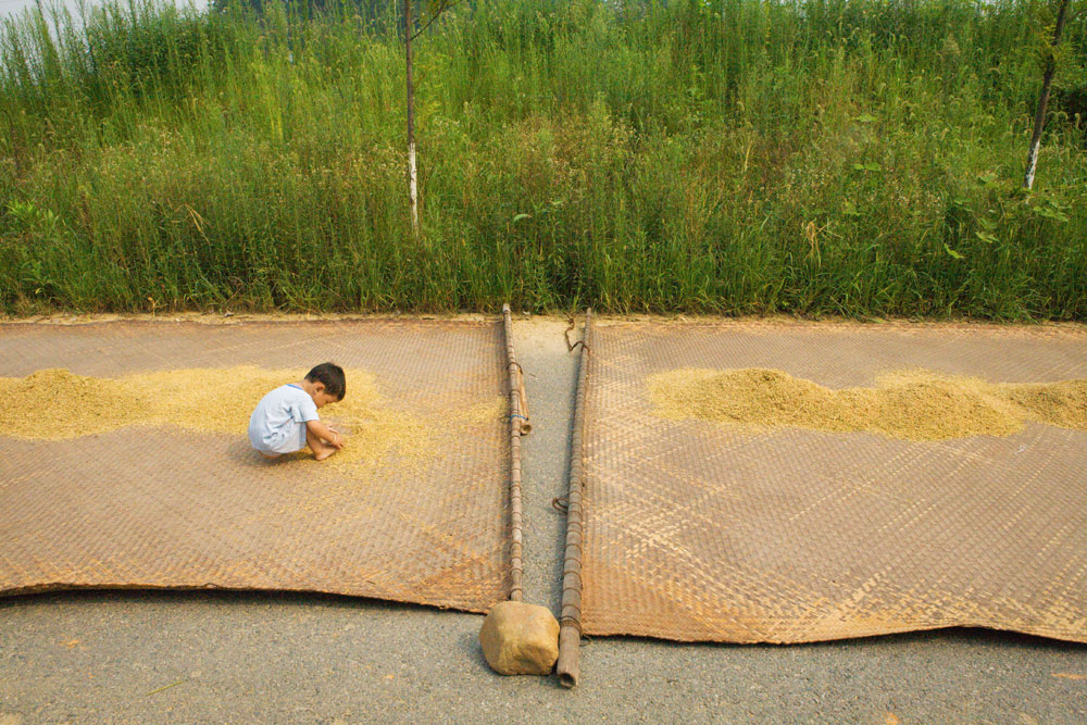 A young boy plays with drying rice in Sixi, Jiangxi Province, China. Richard U. Light Foundation.