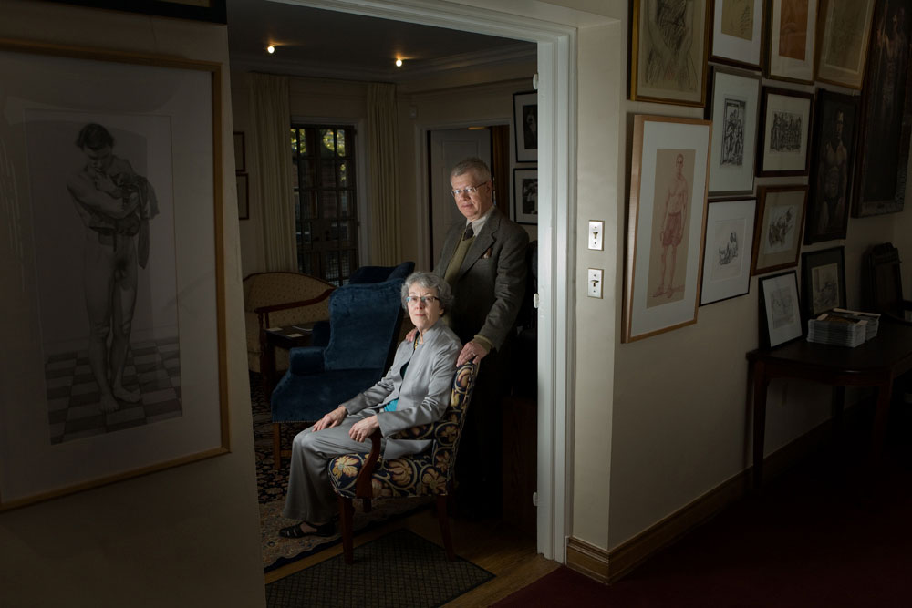 Gary and Sondra Haller, the former master and associate master of Jonathan Edwards College at Yale University, pose with their art collection in the master's house. Jonathan Edwards College, Yale University.