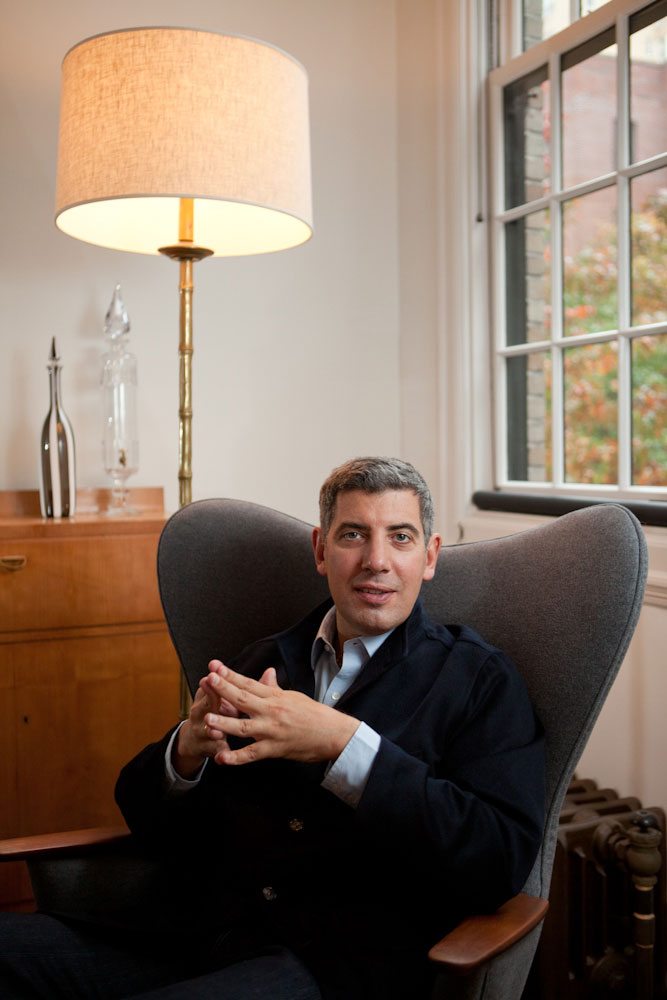Author of the New York Times {quote}Social Q's{quote} column, Philip Galanes, in his Manhattan home. Yale Alumni Magazine.