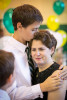 A graduating middle school student hugs his mother who is also the principal of The Mandell School, a private school in Manhattan.