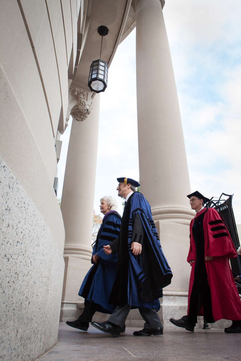 Peter Salovey walks into Woolsey Hall where he was inaugurated as the 23rd President of Yale University.