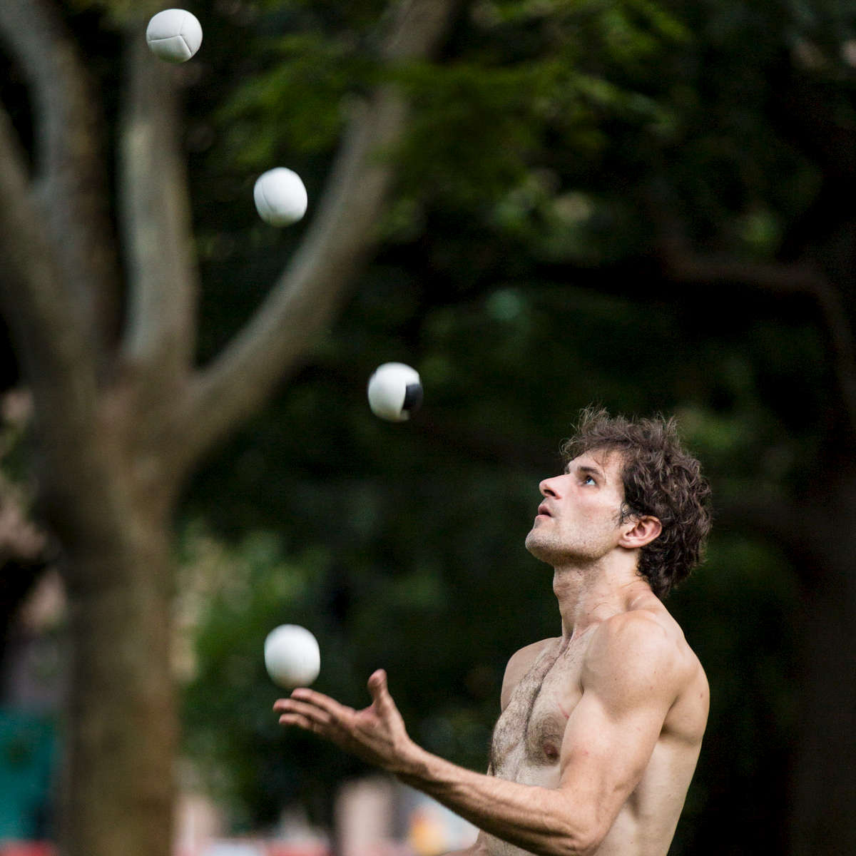Noah Shipley juggles at Washington Square Park this summer.