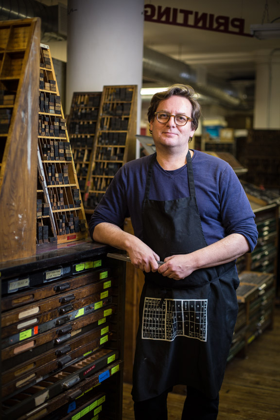 Master Printer Richard O'russa at the Center for Book Arts in Manhattan.