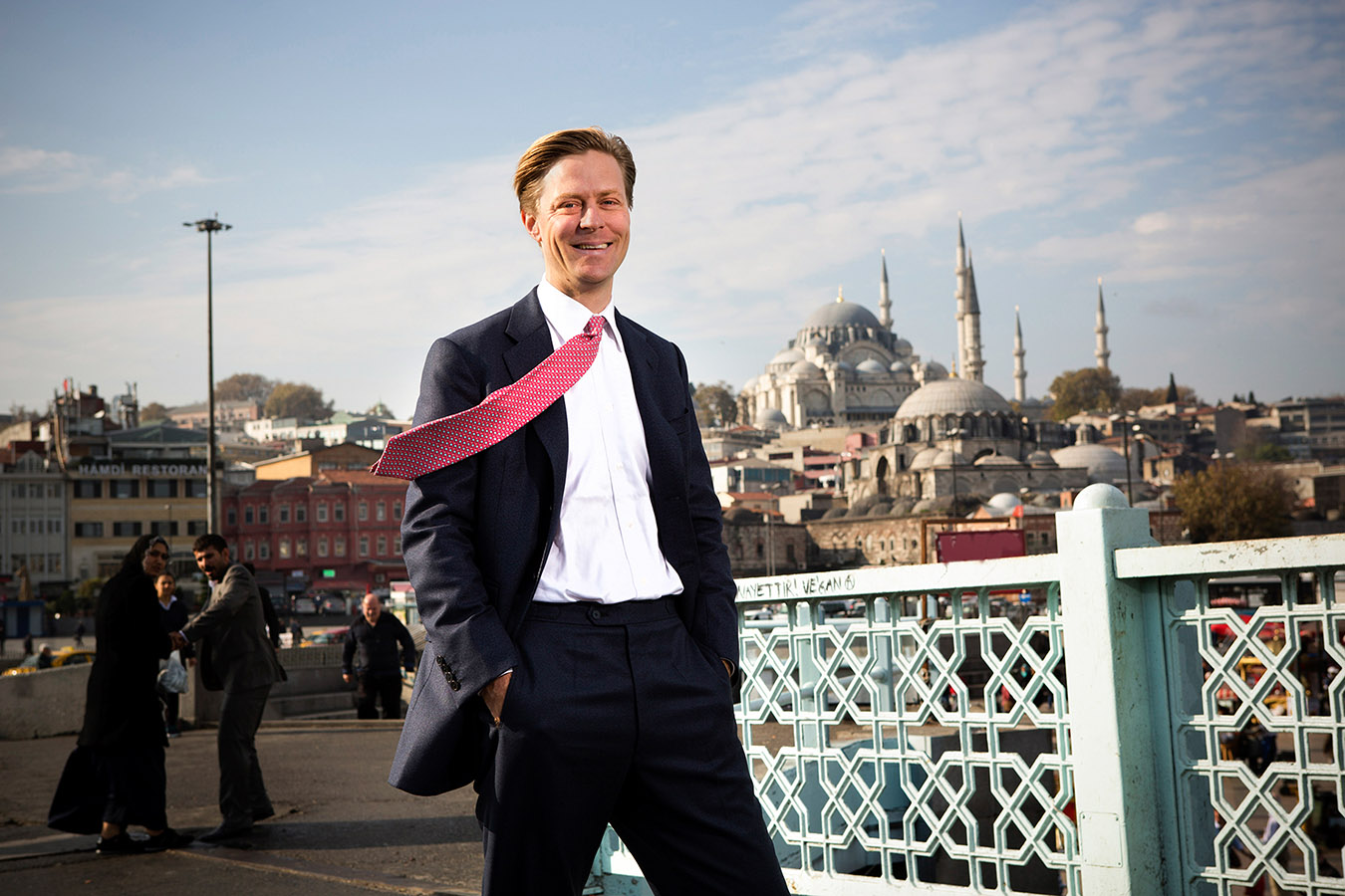 Carlos von Hardenberg poses for a photograph at Galata Bridge of Istanbul.