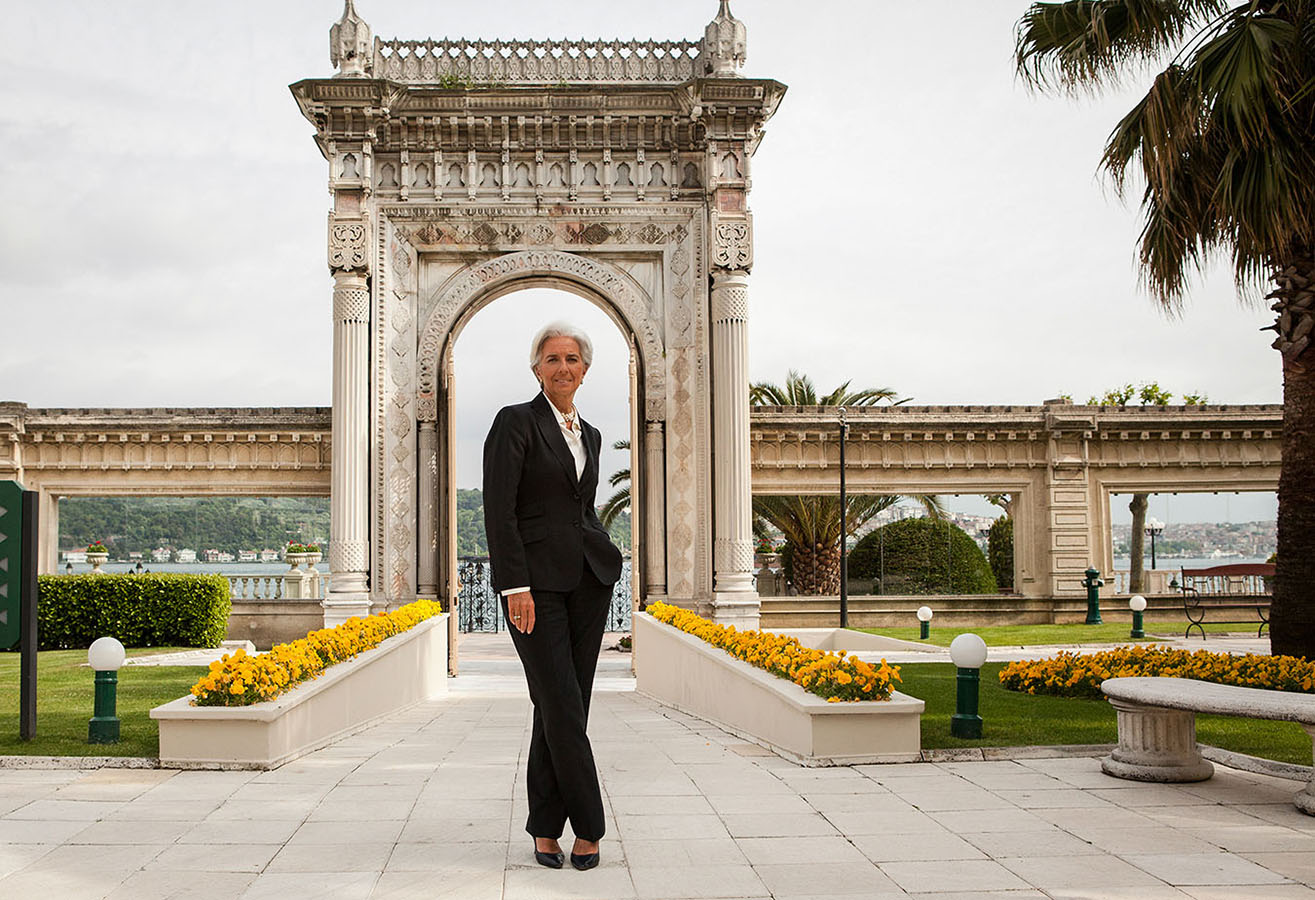 Christine Lagarde, managing director of the International Monetary Fund (IMF), poses at Ciragan Palace in Istanbul, Turkey, on Thursday, May 10, 2012. Photographer: Kerem Uzel/Bloomberg