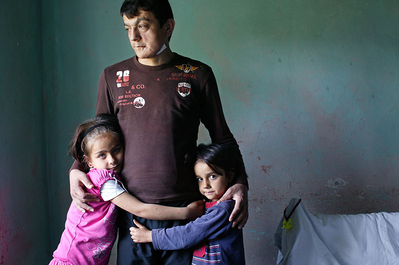 Ismail Eliusta was injured by an explosion in an illegal coal mine in Zonguldak and his family have been surviving with the help of neighbours.Two of his daughter Yagmur,8(left) and Kezban,6.