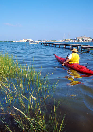 Kayaker in Silver Lake, Ocracoke Island