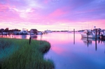 Silver Lake at dusk; Ocracoke Island