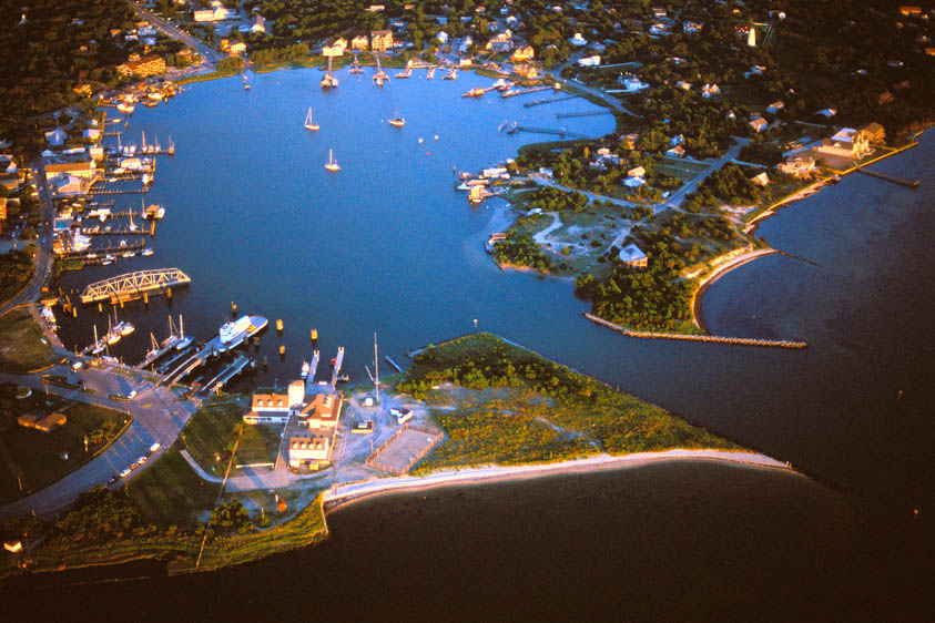 Silver lake; Ocracoke Island; aerial view