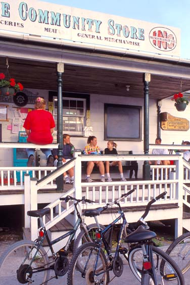 gathering at General Store on Ocracoke Island