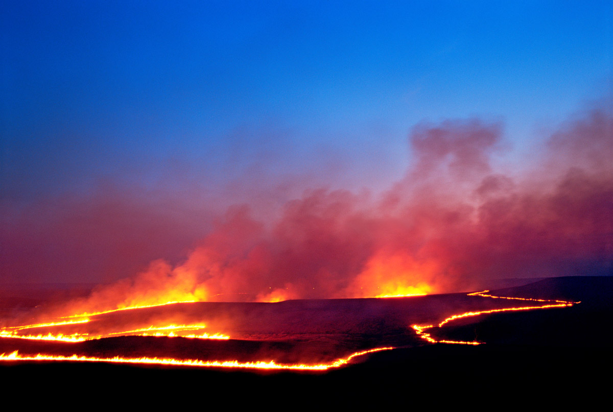 Photograph entitled Evening range burn, Kansas Flint Hills