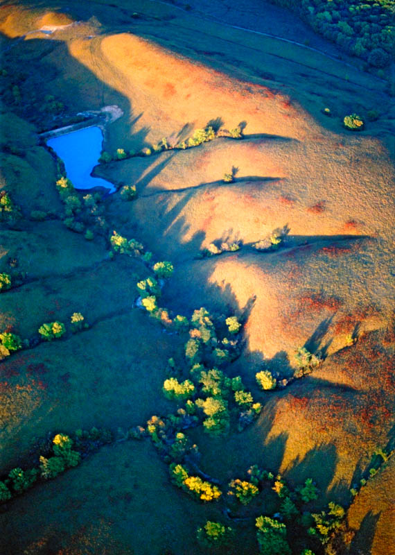 Photograph entitled Autumn aerial landscape, Kansas Flint Hills