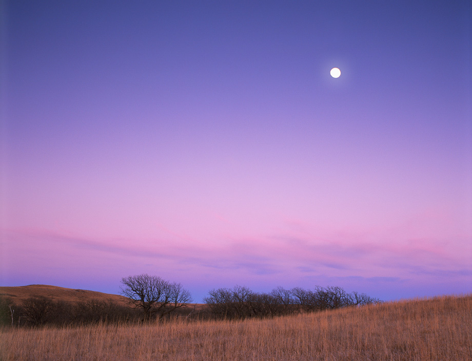 Photograph entitled Full moon over winter prairie