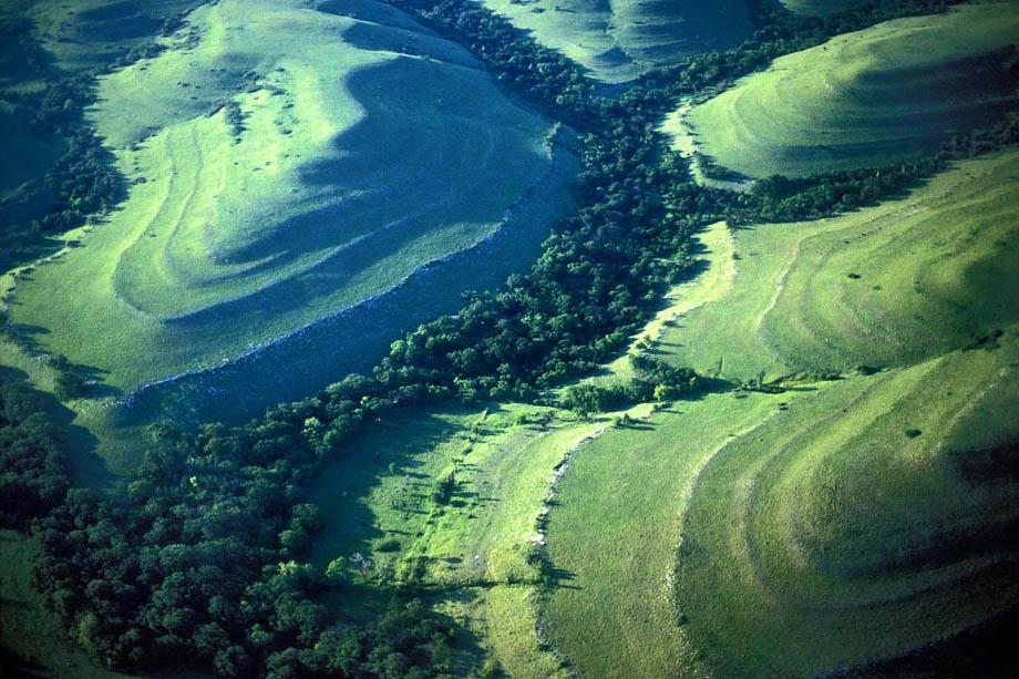 Photograph entitled Terraced Kansas Flint Hills landscape