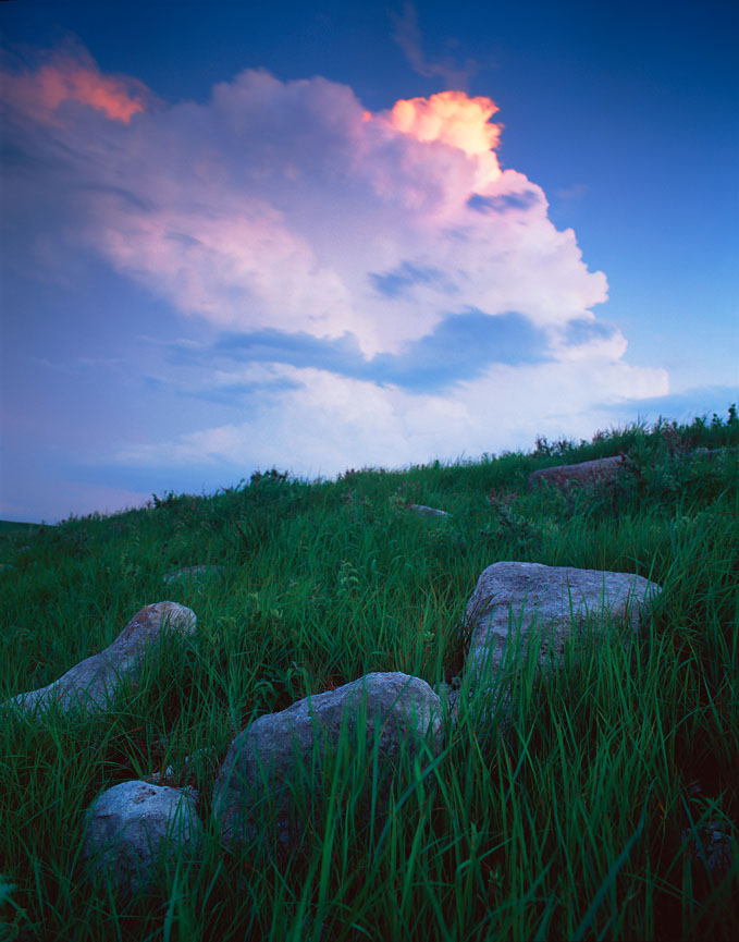 Picture of storm clouds over the Flint Hills at dusk