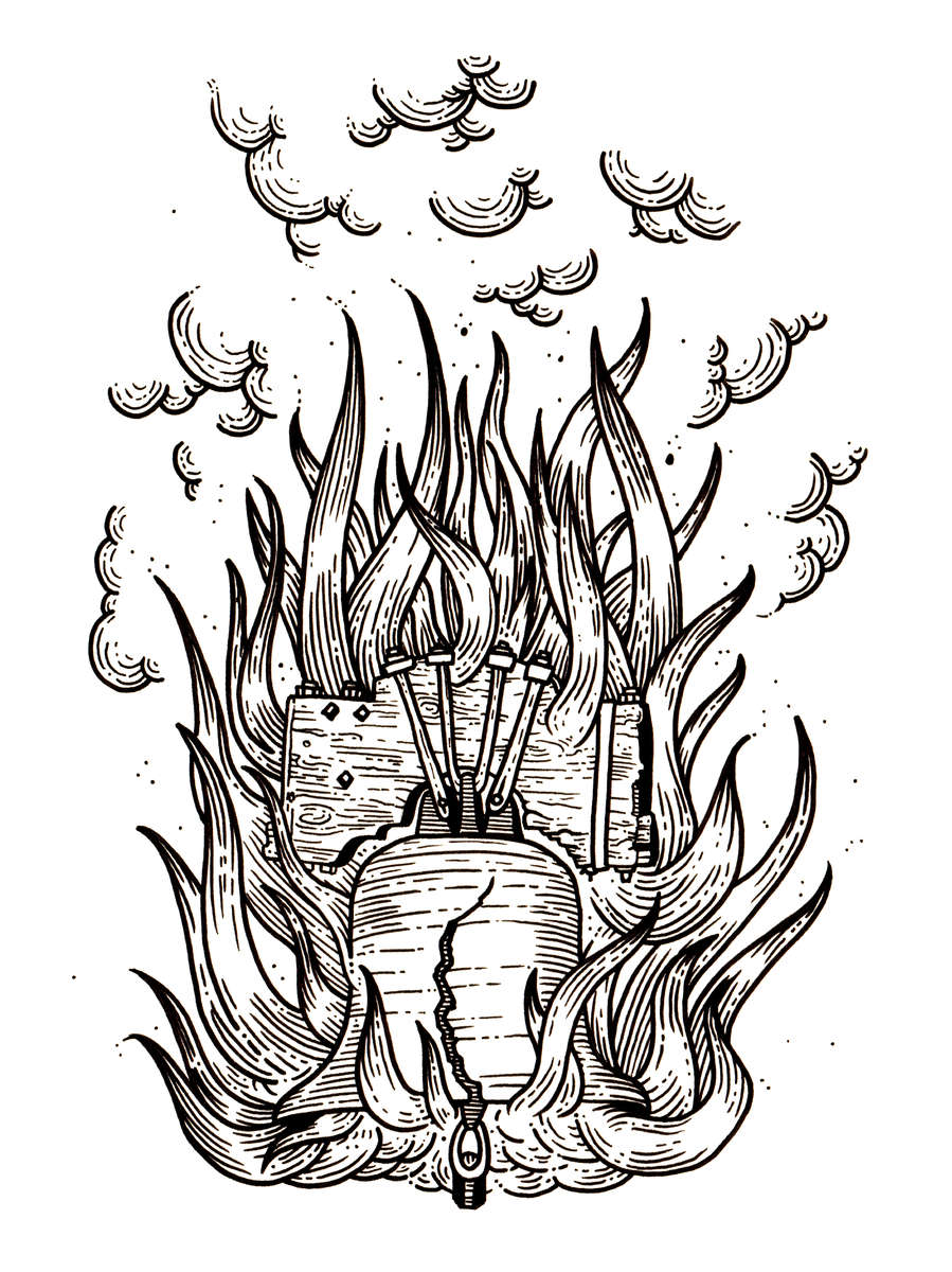 Black and White Drawing for Printing. (unused)