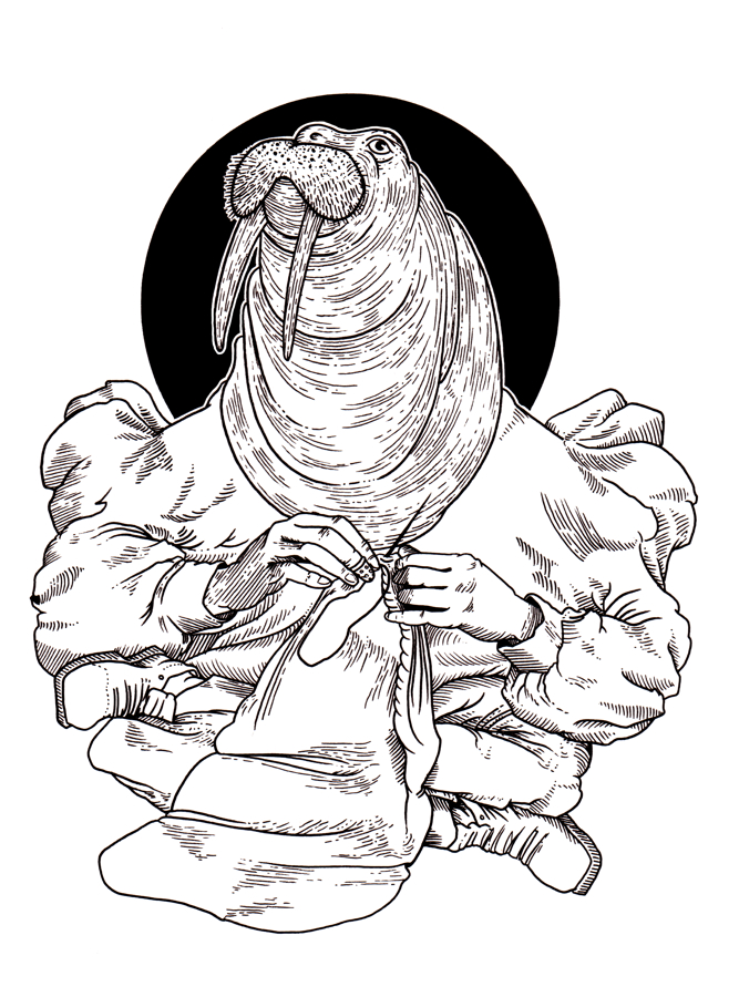 A black and white drawing of a walrus wearing a fluffy shirt, knitting and sittng cross-legged.