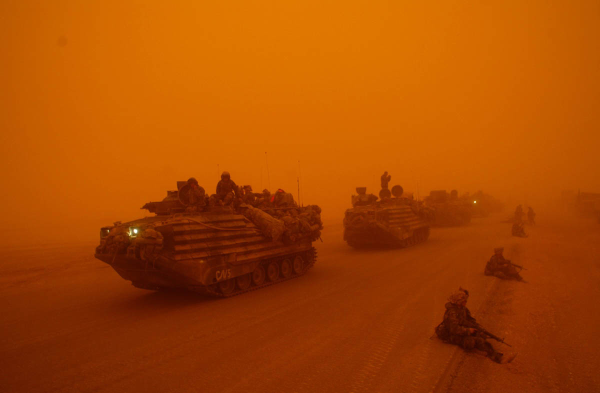 Marines move through sandstorm in central Iraq.