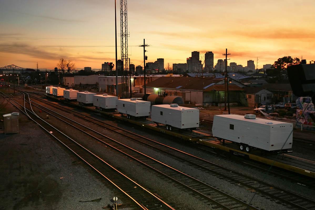 FEMA trailers in a railyard near downtown New Orleans.