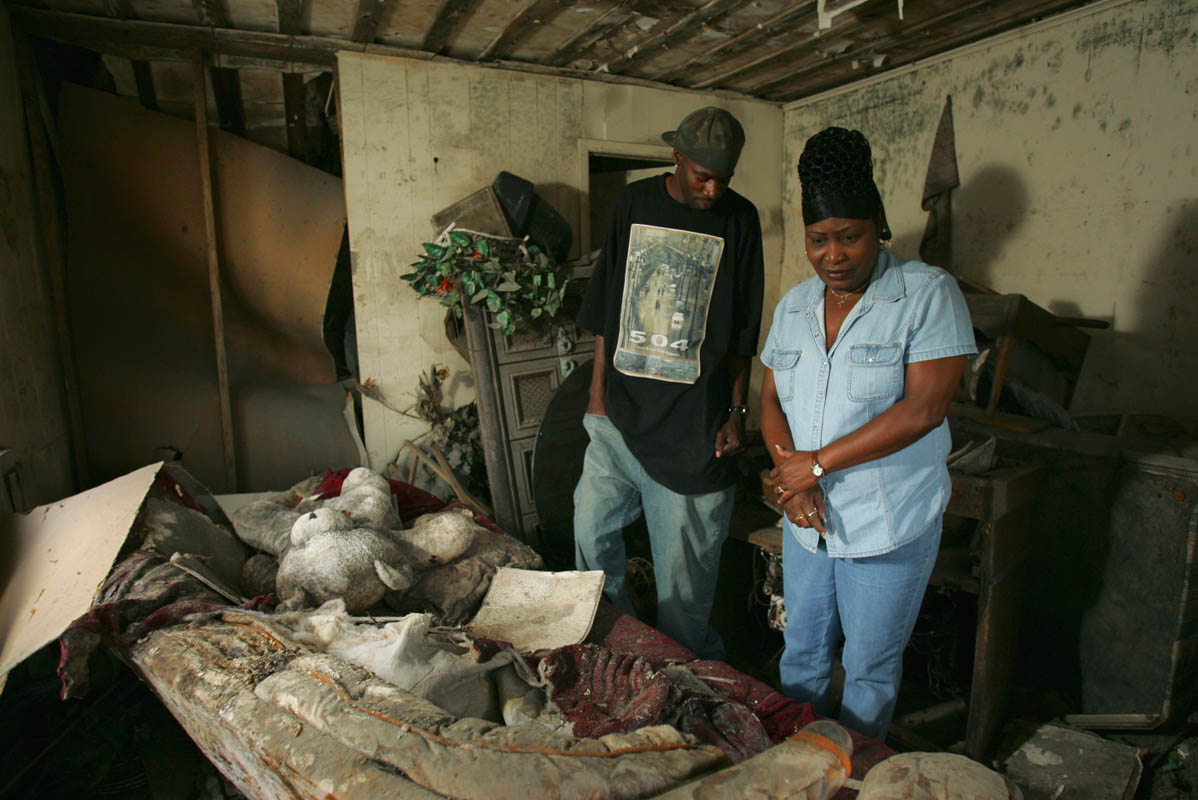 August Blanchard and his aunt, Shirley Blanchard, are in the living room of the house where the decomposed remains of his mother, Charlene, were found in February, on Reynes Street in the Lower Ninth Ward of New Orleans