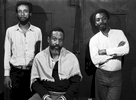 The Air Trio after a performance in Greenwich Village. Left tor Right: reedist Henry Threadgill, percussionist Steve McCall, bassist Fred Hopkins. Photo by Ozier Muhammad
