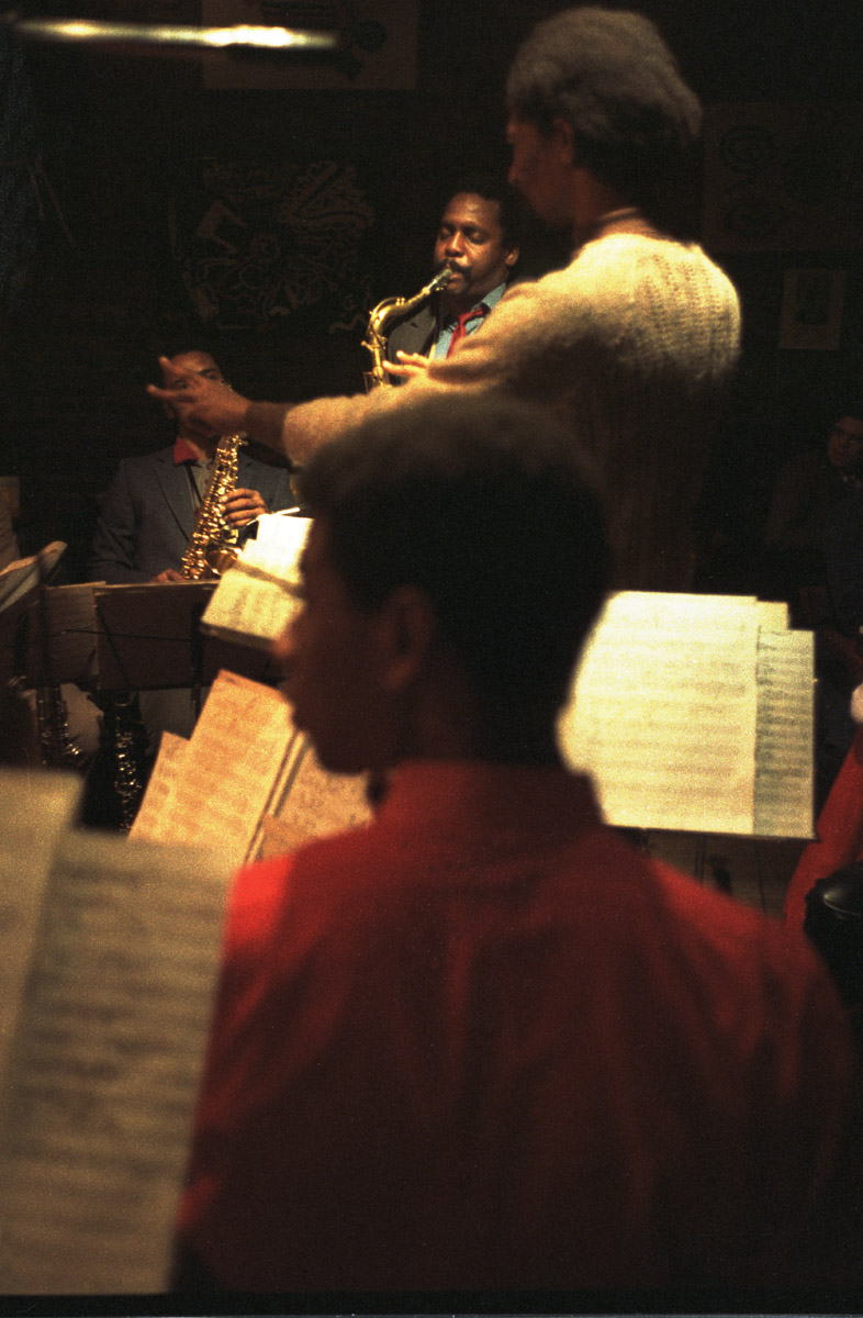 Tenor saxophonist David Murray performs with his big band, which was conducted by Butch Morris, at Sweet Basil, Circa 1982.