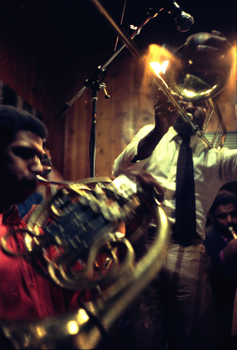 Jazz trombonist Craig Harris taking a solo with the David Murray his big band, which was conducted by Butch Morris, at Sweet Basil, Circa 1982.