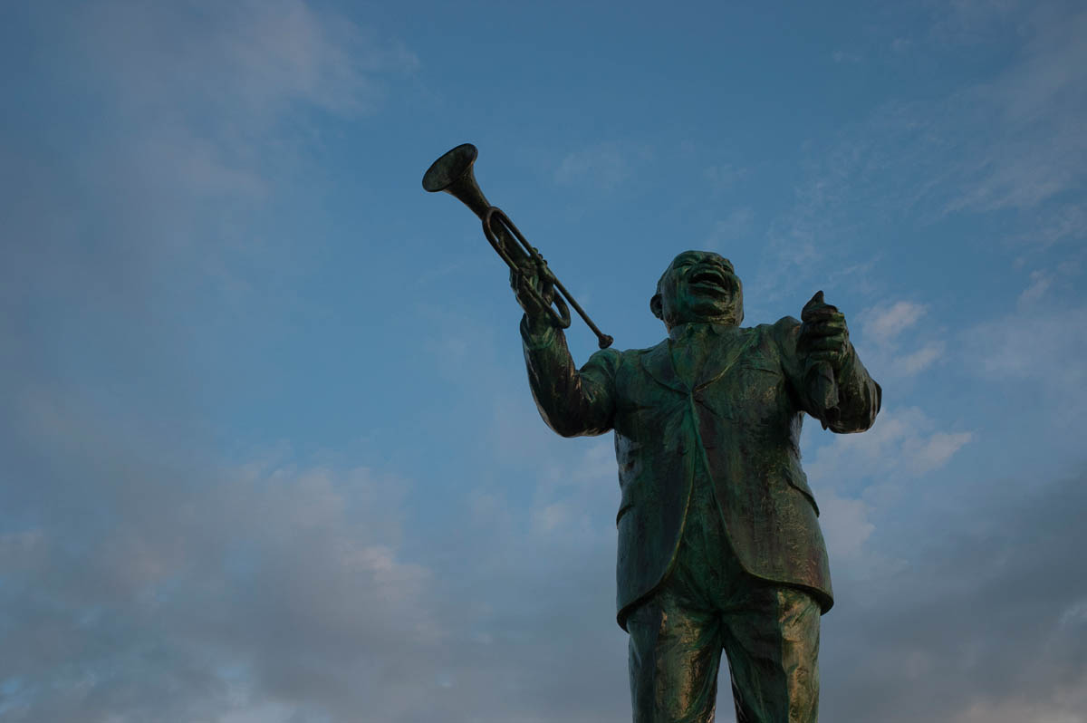 A statue of New Orleans famous native son Louis Armstrong.