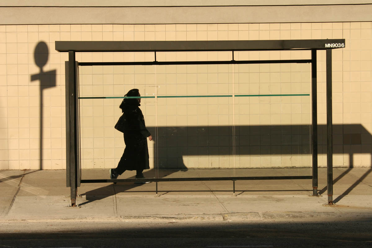 January, 2005 . - A woman walking on Grand Street on the Lower Eastside one late afternoon.