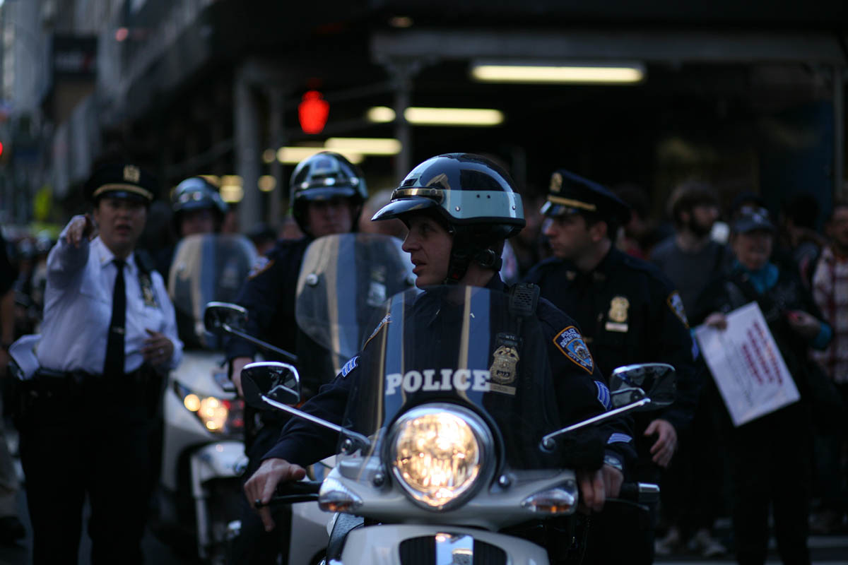 NYPD officers were deployed in lower Manhattan to control the flow of demontrators with the Occupy Wall Street Movement in Lower Manhattan.