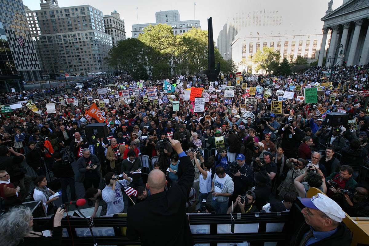 The New York City Teachers Union held a rally in support of the Occupy Wall Street Movement in Foley Square.