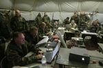 March, 2003. - Marines Headquarters Division - The headquaters battalion communication command center at work after they bivoac in the southern part of Iraq after more than 18 hours of movement towards Baghdad, after leaving Kuwait. .- Ozier Muhammad / NYT