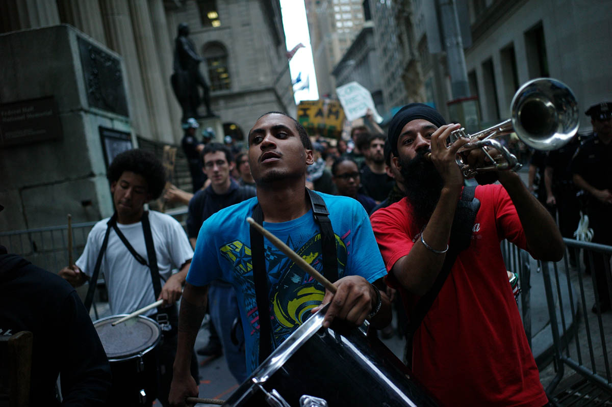 Members of the Occupy Wall Street Movement marched from Zucotti Park to the New York Stock Exchange at the end of the trading day.
