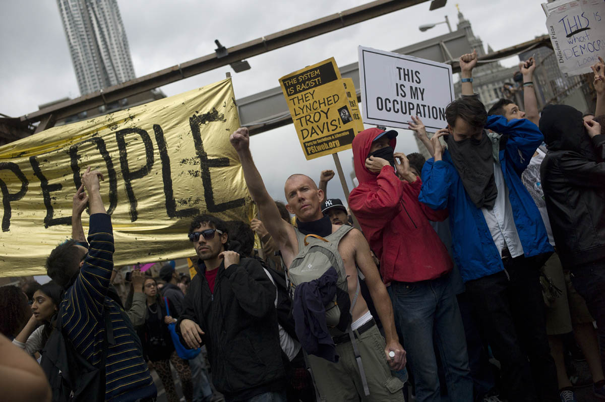October 1st, 2011 - More than 700 Occupy Wall Street Demonstrators were arrested when they crossed the roadway of the Brooklyn Bridge, stoopping traffic.